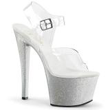 Silver 18 cm Pleaser SKY-308MG glitter platå klackar skor