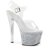 Silver 18 cm SKY-308G-T glitter platå high heels
