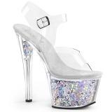 Silver 18 cm SKY-308GF glitter platå high heels
