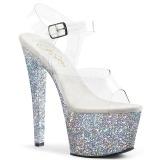Silver 18 cm SKY-308LG glitter platå klackar skor