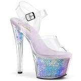 Silver 18 cm SKY-308MC Hologram platå klackar skor