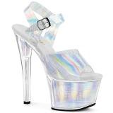 Silver 18 cm SKY-308N-CRHM Hologram platå klackar skor