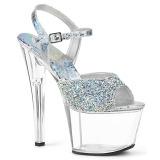 Silver 18 cm SKY-309RS platå klackar skor med strass stenar