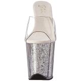 Silver 20 cm FLAMINGO-801G glitter platå tofflor dam med klack