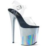 Silver 20 cm FLAMINGO-808-2HGM glittriga klackar platå sandaler skor