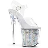 Silver 20 cm FLAMINGO-808GF glitter platå klackar skor