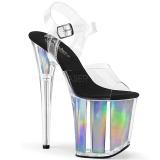 Silver 20 cm FLAMINGO-808HGI Hologram platå klackar skor