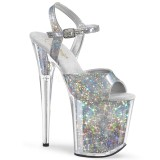 Silver 20 cm FLAMINGO-809HS Hologram platå klackar skor