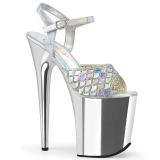 Silver 20 cm FLAMINGO-809MMRS glitter platå high heels