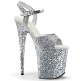 Silver 20 cm FLAMINGO-810LG glitter platå klackar skor