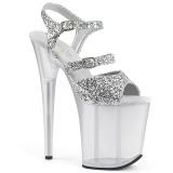 Silver 20 cm FLAMINGO-874 glitter platå high heels