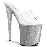 Silver 20 cm Pleaser FLAMINGO-801SDG Glitter Platå Höga Slip in Mules
