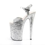 Silver 23 cm INFINITY-910LG glitter platå klackar skor