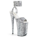 Silver 23 cm INFINITY-991LG glitter platå klackar skor