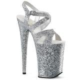 Silver 23 cm INFINITY-997LG glitter platå klackar skor