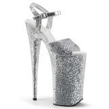 Silver 25,5 cm BEYOND-010LG glitter platå klackar skor