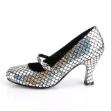 Silver 7,5 cm MERMAID-70 Pumps Shoes with Low Heels
