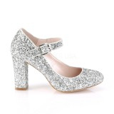 Silver 9 cm SABRINA-07 Pumps Shoes with Cuben Heels