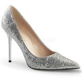 Silver Glitter 10 cm CLASSIQUE-20 stora storlekar stilettos skor