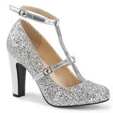 Silver Glitter 10 cm QUEEN-01 stora storlekar pumps skor