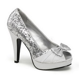 Silver Glitter 12 cm BETTIE-10 Platform Pumps Skor