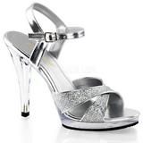 Silver Glitter 12 cm FLAIR-419G Höga Klackar Skor för Män