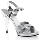 Silver Glitter 12 cm FLAIR-419G Womens High Heel Sandals