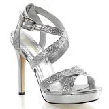 Silver Glitter 12 cm LUMINA-21 Höga Fest Sandaler med Klack