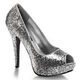Silver Glitter 13,5 cm TWINKLE-18G Höga Platåpumps Peep Toe