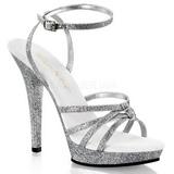 Silver Glitter 13 cm LIP-128 Platå Högklackade Sandaler Skor