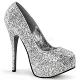 Silver Glitter 14,5 cm Burlesque BORDELLO TEEZE-06G Höga Platåpumps
