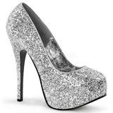 Silver Glitter 14,5 cm Burlesque BORDELLO TEEZE-06G Platform Pumps