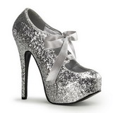 Silver Glitter 14,5 cm Burlesque TEEZE-10G Platform Pumps Shoes