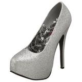 Silver Glitter 14,5 cm Burlesque TEEZE-31G Platform Pumps Skor