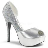 Silver Glitter 14,5 cm Burlesque TEEZE-41W pumps för män med breda fötter
