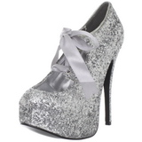 Silver Glitter 14,5 cm TEEZE-10G Platform Pumps Skor