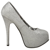 Silver Glitter 14,5 cm TEEZE-31G Platform Pumps Skor