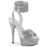 Silver Glitter 15 cm DELIGHT-691LG pleaser high heels with ankle straps