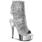Silver Glitter 15 cm Pleaser DELIGHT-1018G Platform Ankle Calf Boots