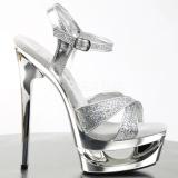 Silver Glitter 16,5 cm Pleaser ECLIPSE-619G Höga Stilettklackar Platå
