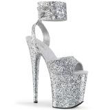 Silver Glitter 20 cm FLAMINGO-891LG High Heels Platform