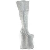 Silver Glitter 34 cm VIVACIOUS-3016 Overknee Stövlar för Drag Queen