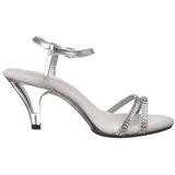 Silver Glitter 8 cm BELLE-316 Högklackade Dam Sandaletter