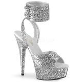 Silver Glittra 15 cm DELIGHT-691LG högklackade skor med ankelband