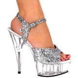 Silver Glittra 15 cm Pleaser DELIGHT-609 Högklackade Sandaletter