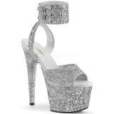 Silver Glittra 18 cm ADORE-791LG högklackade skor med ankelband