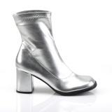 Silver Konstläder 7,5 cm GOGO-150 stretch ankleboots med blockklack till kvinnor