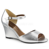 Silver Konstläder 7,5 cm KIMBERLY-05 stora storlekar sandaler dam