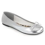 Silver Konstläder ANNA-01 stora storlekar ballerina skor