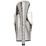 Silver Kristall Platform 18 cm STARDUST-701 Högklackade Slipper Skor